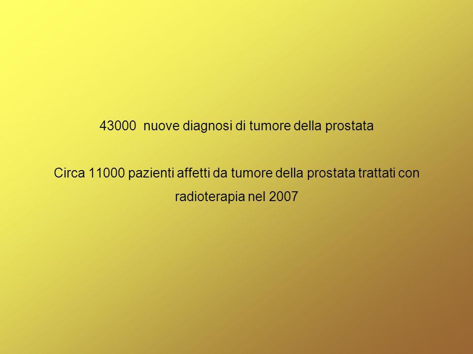 La radioterapia viene utilizzata a scopo: radicale (con lintento di eradicare la malattia clinicamente localizzata) adiuvante (dopo intervento chirurgico, pT3,r+) di salvataggio (dopo intervento chirurgico, mancato azzeramento del PSA) in palliazione (metastasi ossee)