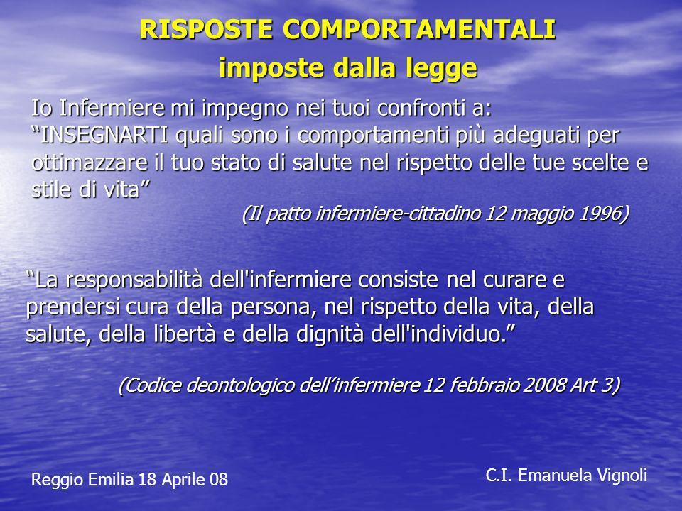 Reggio Emilia 18 Aprile 08 C.I. Emanuela Vignoli RISPOSTE COMPORTAMENTALI imposte dalla legge Io Infermiere mi impegno nei tuoi confronti a: INSEGNART