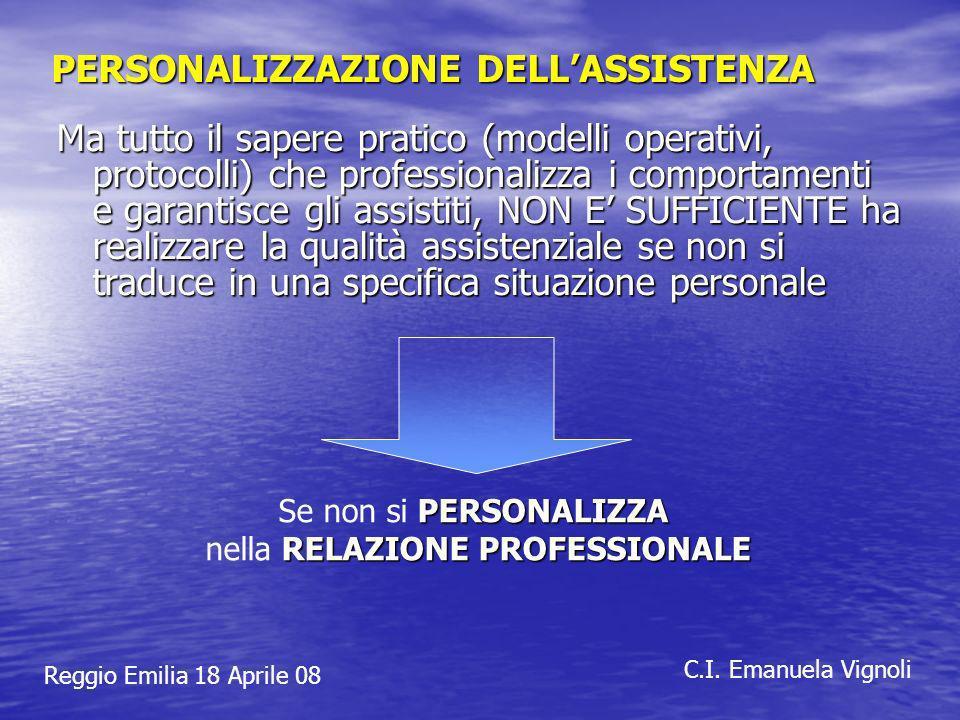 Reggio Emilia 18 Aprile 08 C.I. Emanuela Vignoli PERSONALIZZAZIONE DELLASSISTENZA Ma tutto il sapere pratico (modelli operativi, protocolli) che profe
