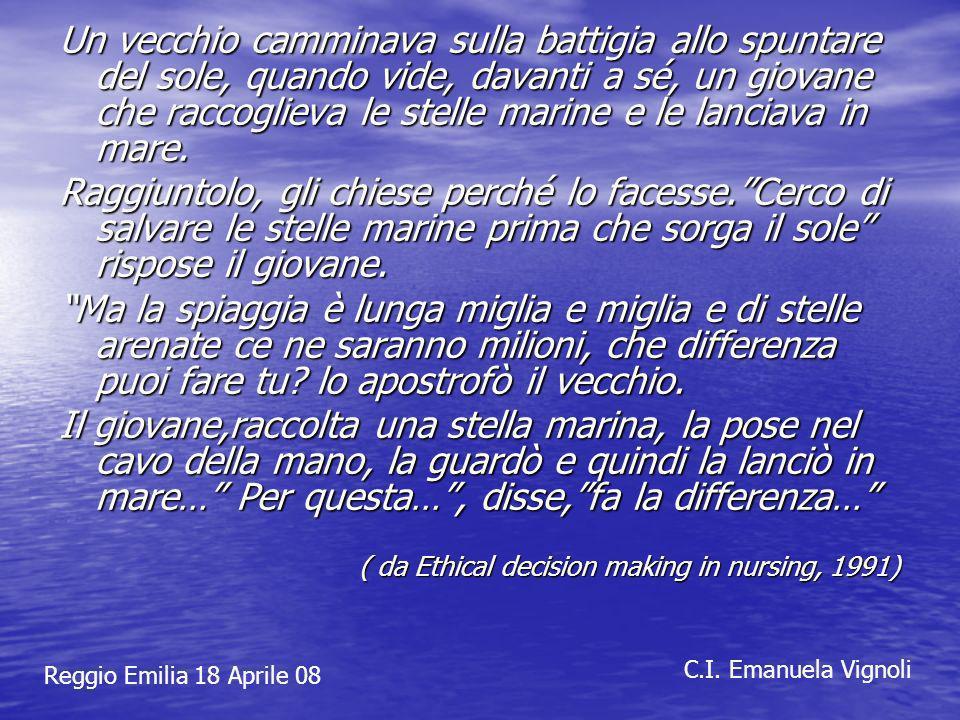 Reggio Emilia 18 Aprile 08 C.I. Emanuela Vignoli Un vecchio camminava sulla battigia allo spuntare del sole, quando vide, davanti a sé, un giovane che