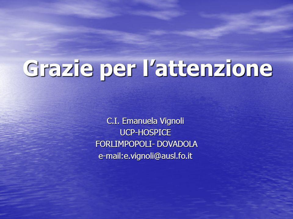 Grazie per lattenzione C.I. Emanuela Vignoli UCP-HOSPICE FORLIMPOPOLI- DOVADOLA FORLIMPOPOLI- DOVADOLAe-mail:e.vignoli@ausl.fo.it