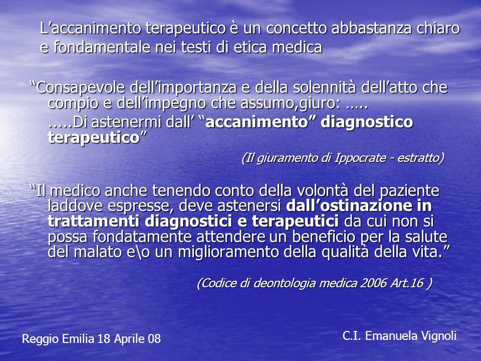 Laccanimento terapeutico è un concetto abbastanza chiaro e fondamentale nei testi di etica medica Consapevole dellimportanza e della solennità dellatt