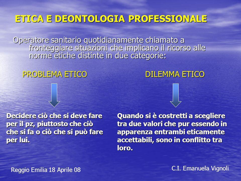 Reggio Emilia 18 Aprile 08 C.I. Emanuela Vignoli ETICA E DEONTOLOGIA PROFESSIONALE Operatore sanitario quotidianamente chiamato a fronteggiare situazi