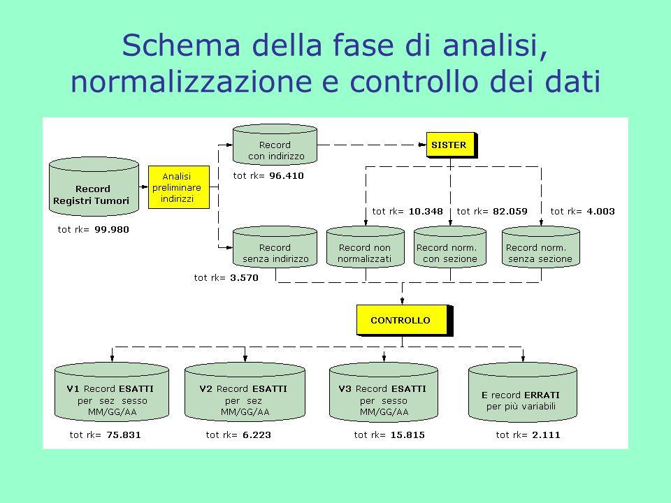 Schema della fase di analisi, normalizzazione e controllo dei dati