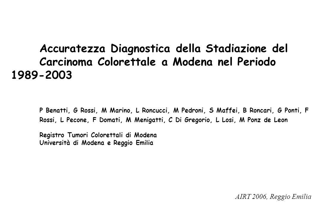 Accuratezza Diagnostica della Stadiazione del Carcinoma Colorettale a Modena nel Periodo 1989-2003 P Benatti, G Rossi, M Marino, L Roncucci, M Pedroni