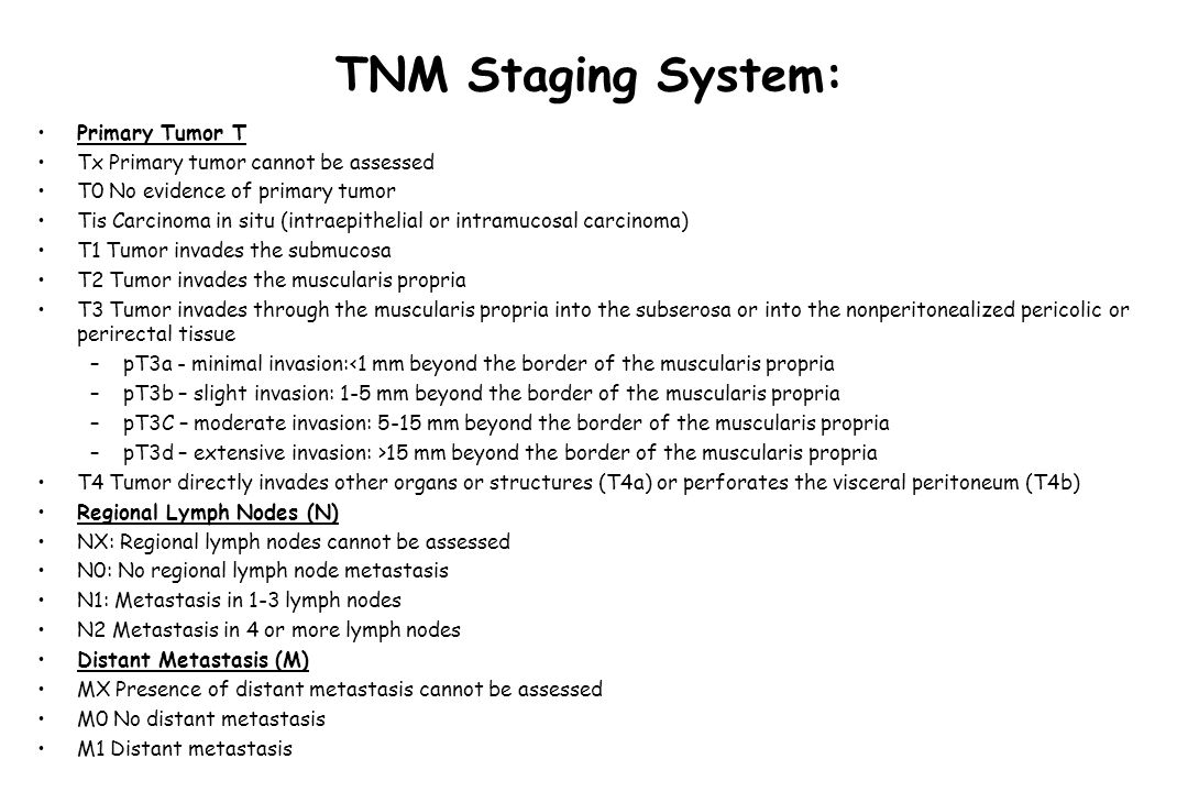 TNM Staging System: Stage groupings TNM groupsTNMAstler-CollerDukes Stage IT1-2N0M0A-B1A Stage IIAT3N0M0B2B Stage IIBT4N0M0B3B Stage IIIAT1-2N1M0C1C Stage IIIBT3-4N1M0C2,C3C Stage IIICAny TN2M0C1, C2, C3C Stage IVAny TAny NM1DN/A