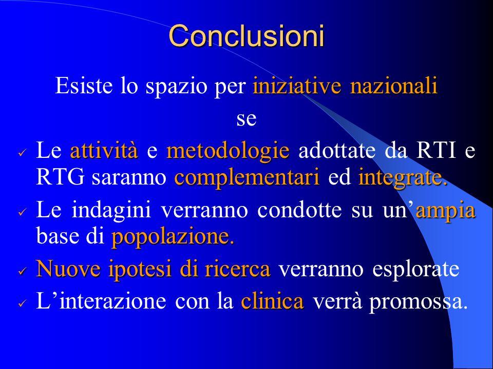 Conclusioni iniziative nazionali Esiste lo spazio per iniziative nazionali se attivitàmetodologie complementariintegrate.