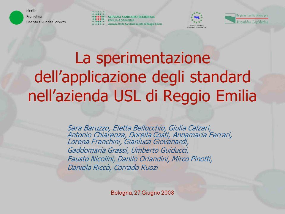 Health Promoting Hospitals & Health Services Bologna, 27 Giugno 2008 La sperimentazione dellapplicazione degli standard nellazienda USL di Reggio Emil