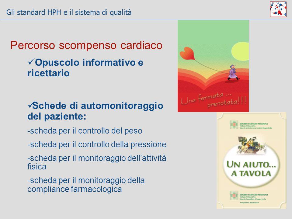 Gli standard HPH e il sistema di qualità 10 Percorso scompenso cardiaco Opuscolo informativo e ricettario Schede di automonitoraggio del paziente: -sc