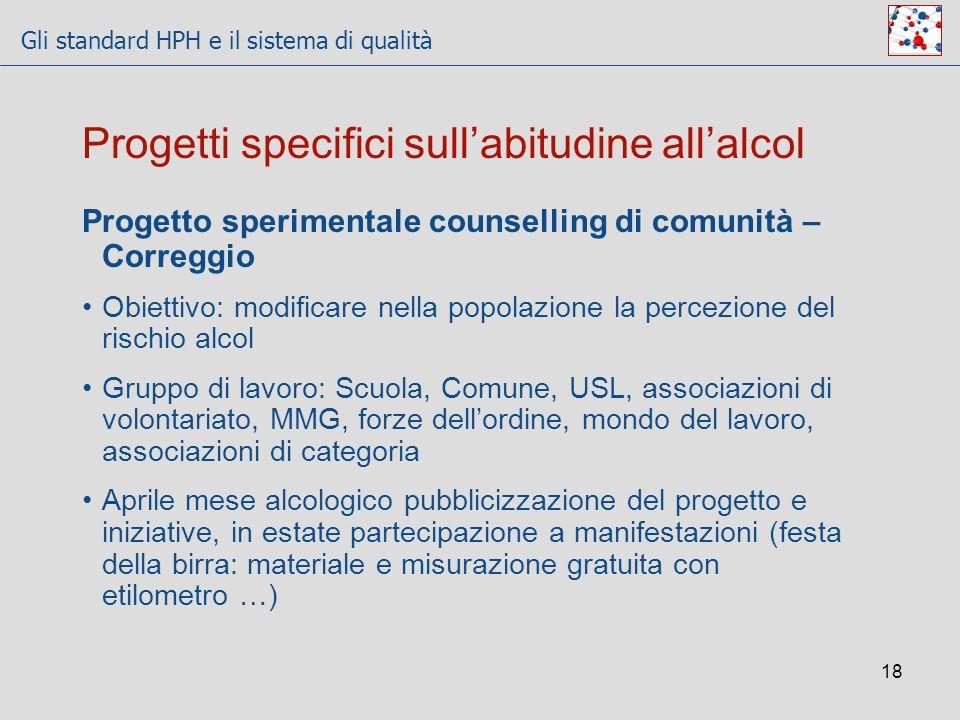 Gli standard HPH e il sistema di qualità 18 Progetto sperimentale counselling di comunità – Correggio Obiettivo: modificare nella popolazione la perce