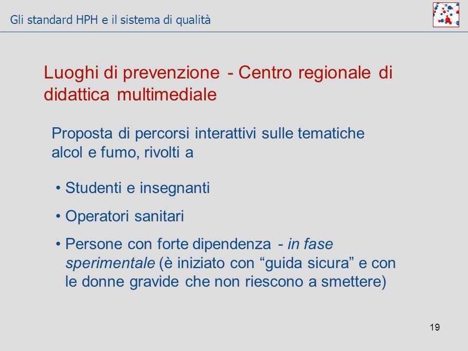 Gli standard HPH e il sistema di qualità 19 Luoghi di prevenzione - Centro regionale di didattica multimediale Proposta di percorsi interattivi sulle