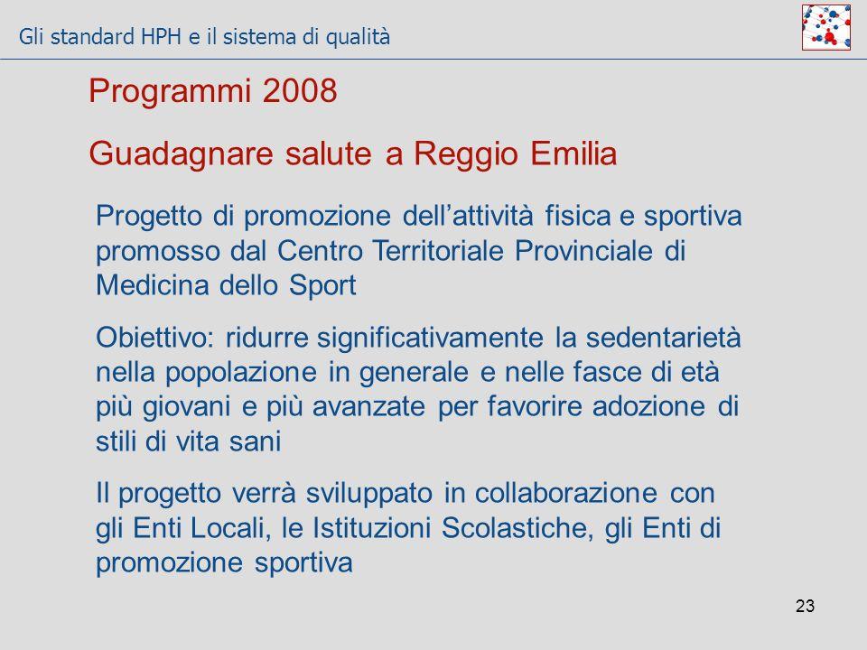 Gli standard HPH e il sistema di qualità 23 Guadagnare salute a Reggio Emilia Progetto di promozione dellattività fisica e sportiva promosso dal Centr