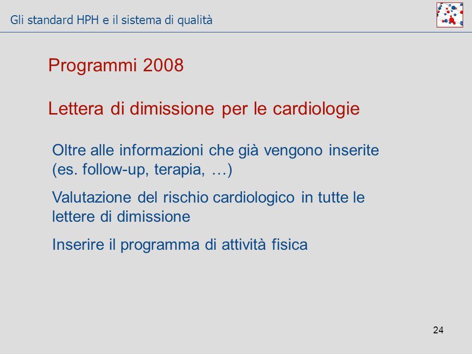Gli standard HPH e il sistema di qualità 24 Lettera di dimissione per le cardiologie Oltre alle informazioni che già vengono inserite (es. follow-up,