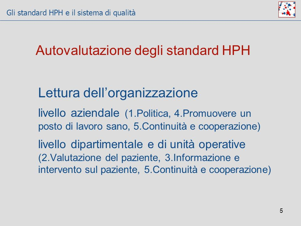 Gli standard HPH e il sistema di qualità 5 Autovalutazione degli standard HPH Lettura dellorganizzazione livello aziendale (1.Politica, 4.Promuovere u