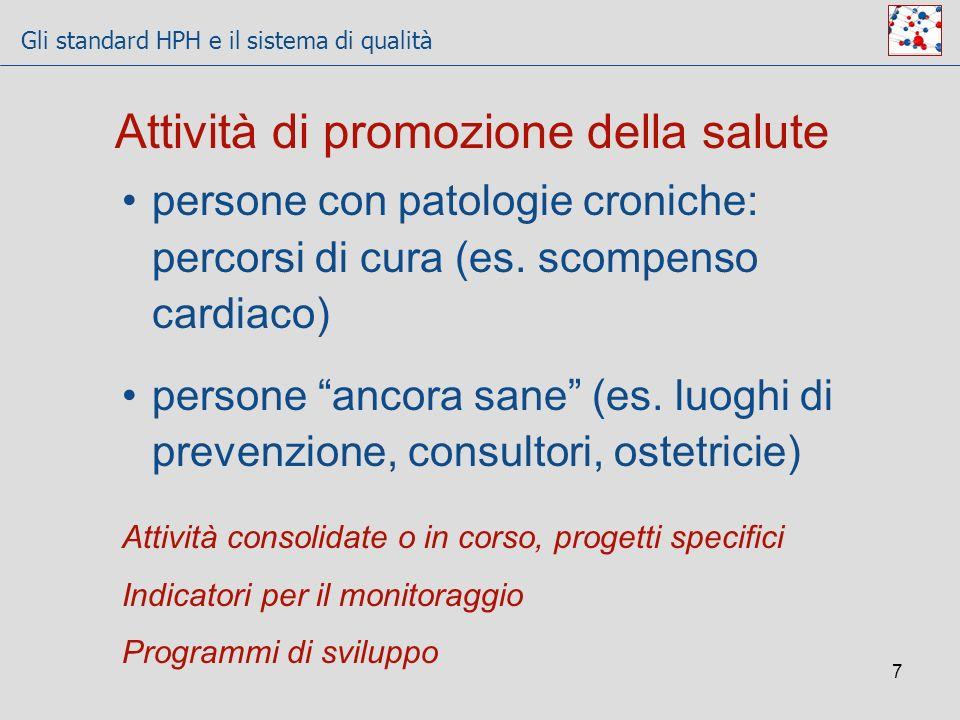 Gli standard HPH e il sistema di qualità 7 Attività di promozione della salute persone con patologie croniche: percorsi di cura (es. scompenso cardiac