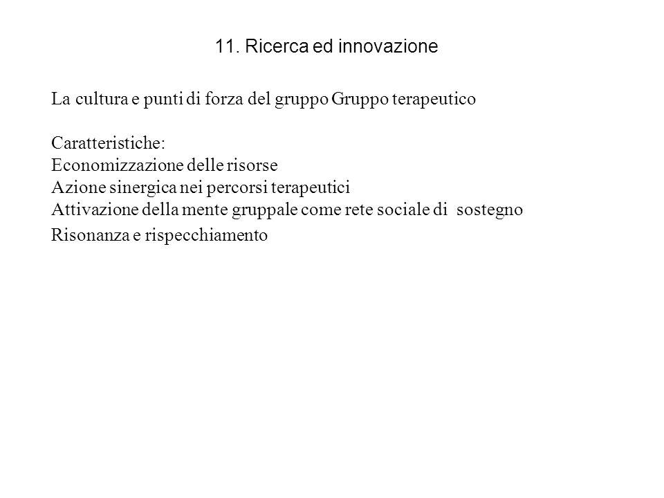 11. Ricerca ed innovazione La cultura e punti di forza del gruppo Gruppo terapeutico Caratteristiche: Economizzazione delle risorse Azione sinergica n