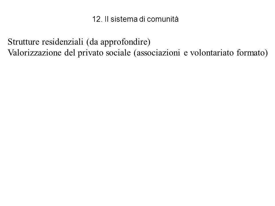 12. Il sistema di comunità Strutture residenziali (da approfondire) Valorizzazione del privato sociale (associazioni e volontariato formato)