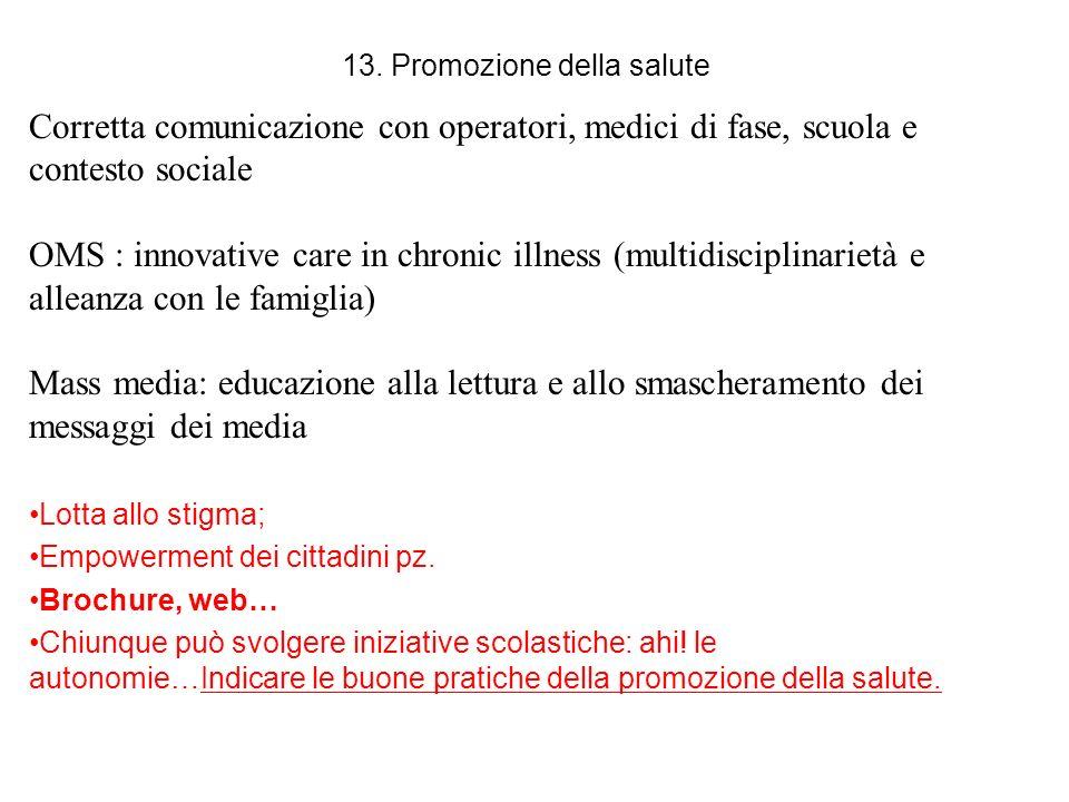 13. Promozione della salute Corretta comunicazione con operatori, medici di fase, scuola e contesto sociale OMS : innovative care in chronic illness (