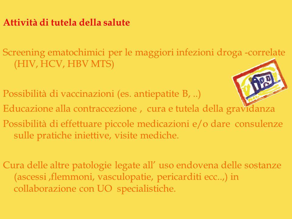 Attività di tutela della salute Screening ematochimici per le maggiori infezioni droga -correlate (HIV, HCV, HBV MTS) Possibilità di vaccinazioni (es.