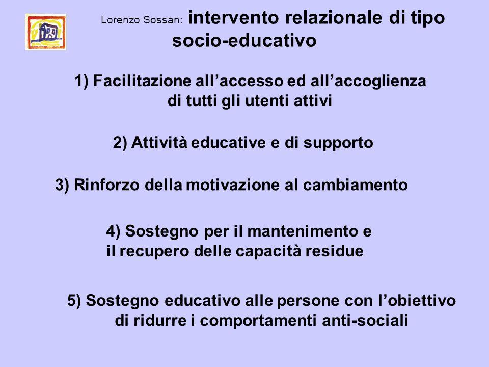 Lorenzo Sossan: intervento relazionale di tipo socio-educativo 1) Facilitazione allaccesso ed allaccoglienza di tutti gli utenti attivi 2) Attività ed