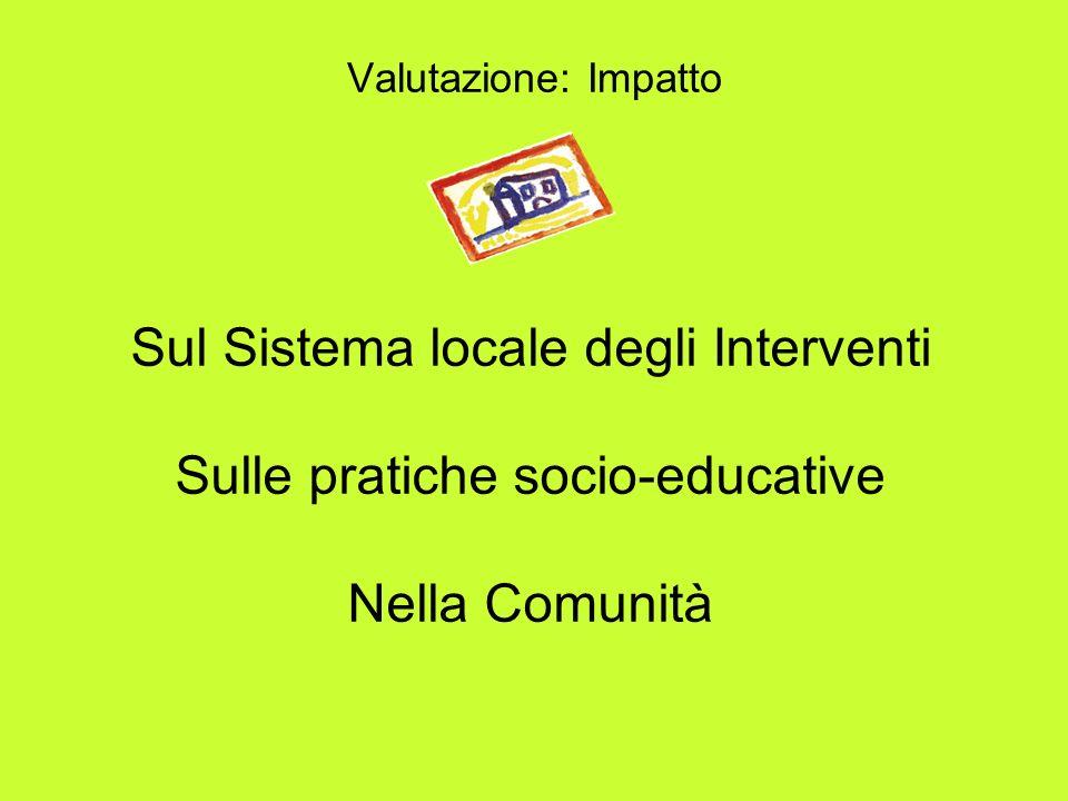 Valutazione: Impatto Sul Sistema locale degli Interventi Sulle pratiche socio-educative Nella Comunità