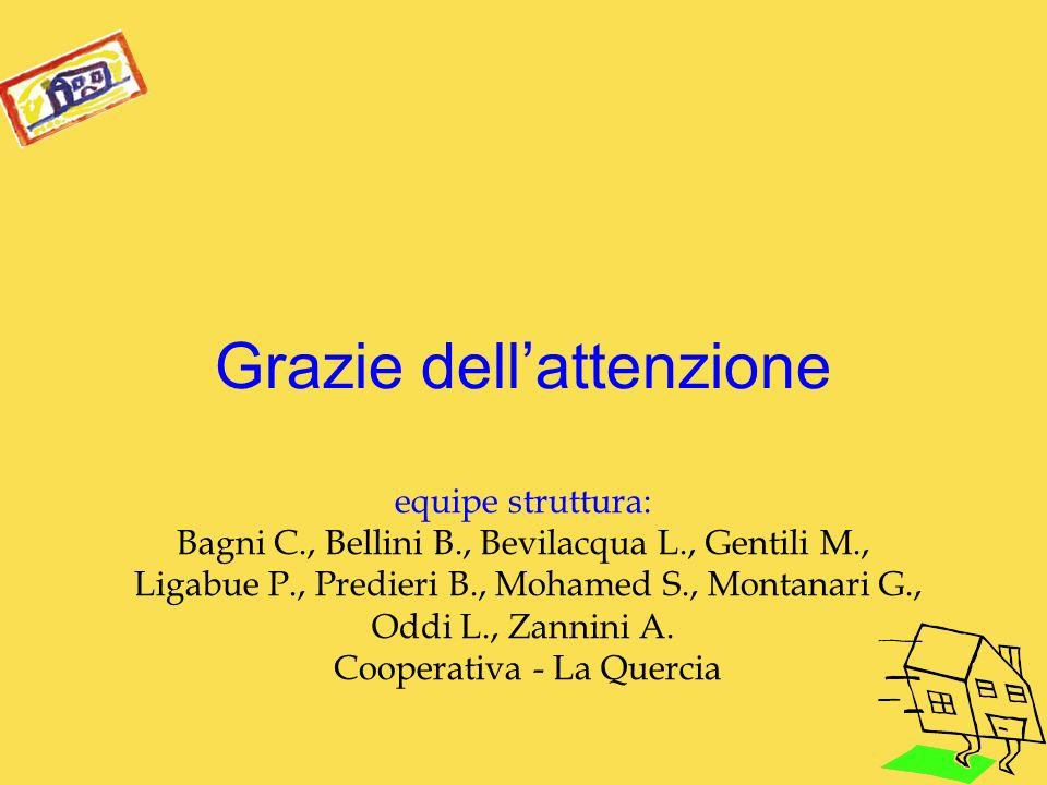 Grazie dellattenzione equipe struttura: Bagni C., Bellini B., Bevilacqua L., Gentili M., Ligabue P., Predieri B., Mohamed S., Montanari G., Oddi L., Z