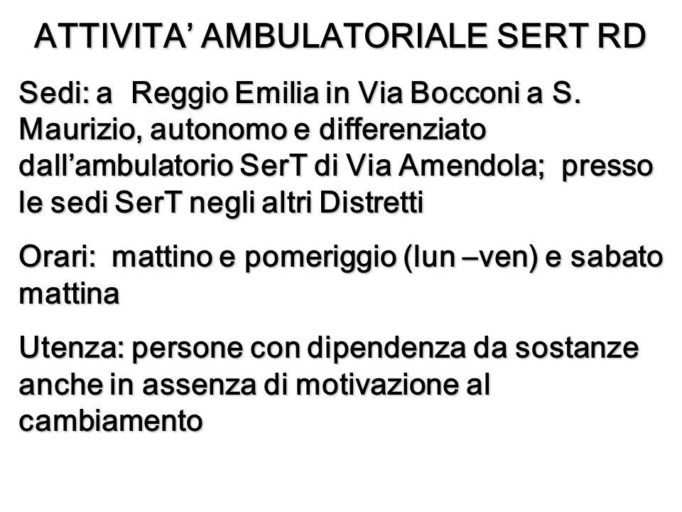 ATTIVITA AMBULATORIALE SERT RD Sedi: a Reggio Emilia in Via Bocconi a S.