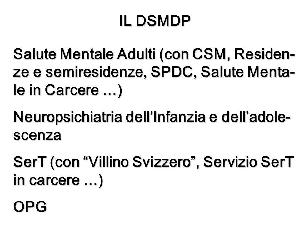 IL DSMDP Salute Mentale Adulti (con CSM, Residen- ze e semiresidenze, SPDC, Salute Menta- le in Carcere …) Neuropsichiatria dellInfanzia e delladole- scenza SerT (con Villino Svizzero, Servizio SerT in carcere …) OPG