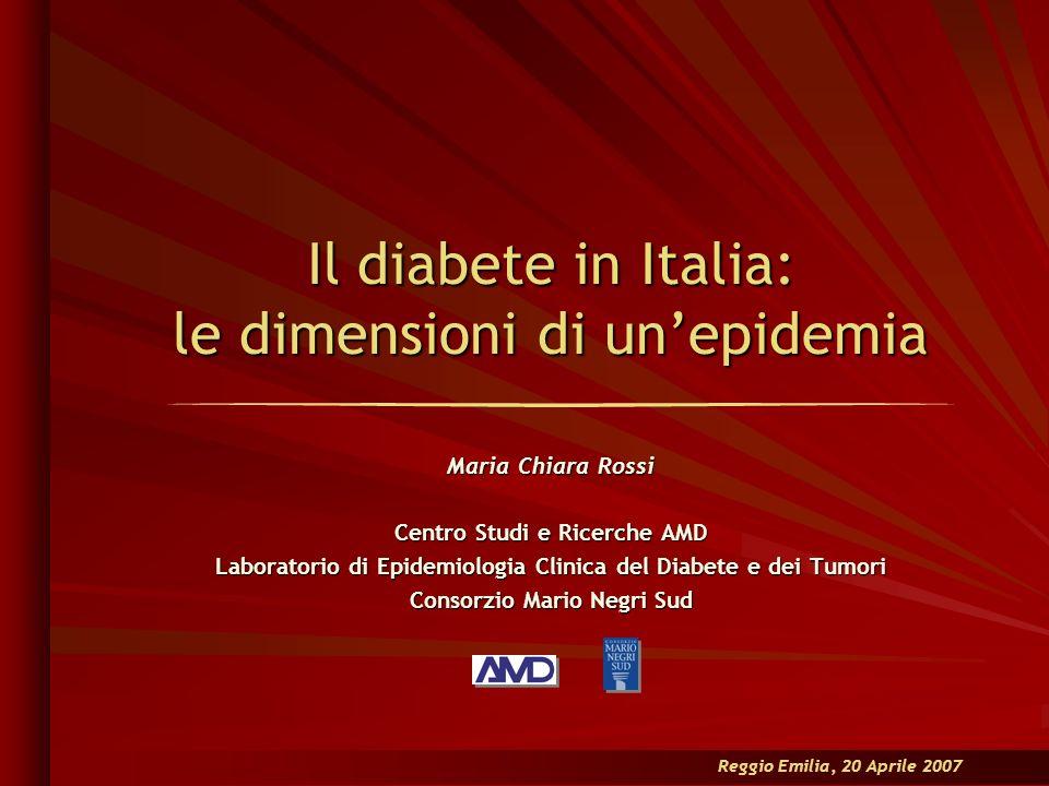 Il diabete in Italia: le dimensioni di unepidemia Maria Chiara Rossi Centro Studi e Ricerche AMD Laboratorio di Epidemiologia Clinica del Diabete e de