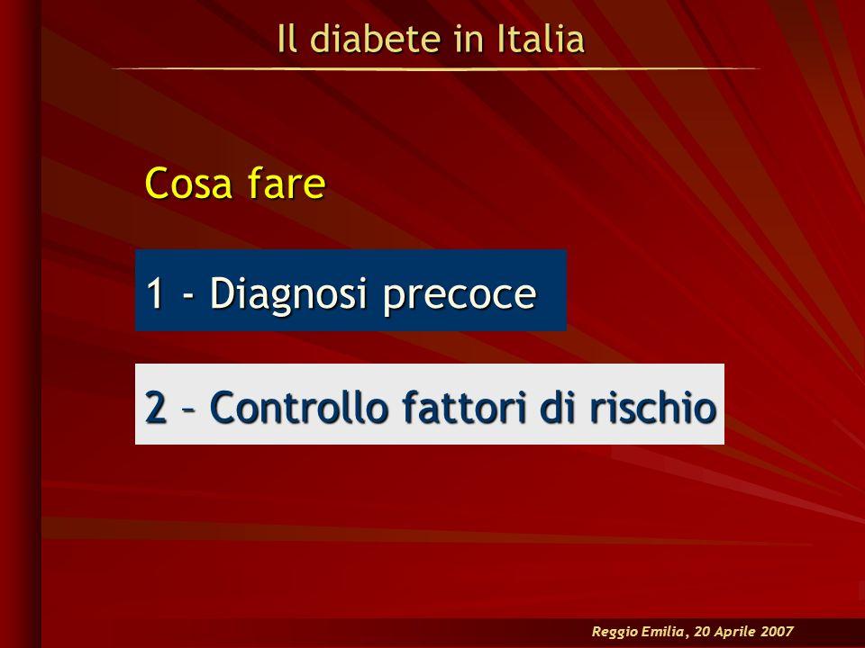 Il diabete in Italia Reggio Emilia, 20 Aprile 2007 Cosa fare 1 - Diagnosi precoce 2 – Controllo fattori di rischio