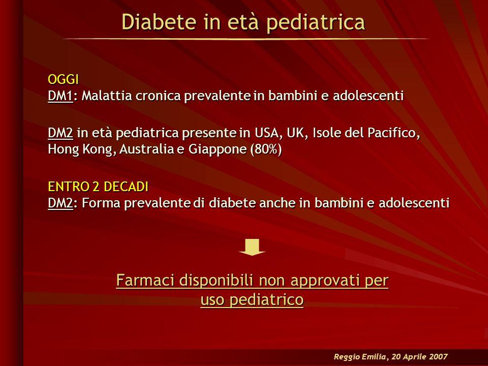 Diabete in età pediatrica Reggio Emilia, 20 Aprile 2007 OGGI DM1: Malattia cronica prevalente in bambini e adolescenti DM2 in età pediatrica presente