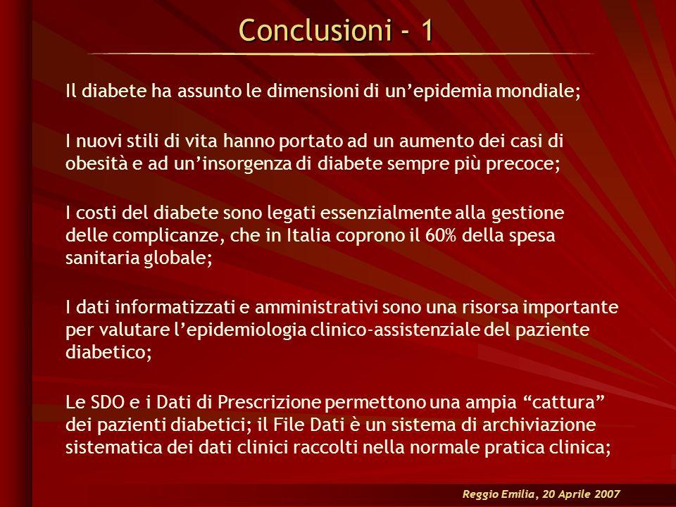 Conclusioni - 1 Reggio Emilia, 20 Aprile 2007 Il diabete ha assunto le dimensioni di unepidemia mondiale; I nuovi stili di vita hanno portato ad un au