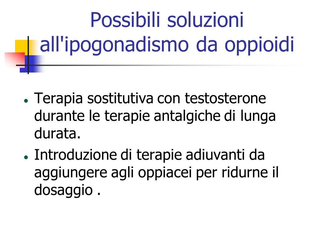Possibili soluzioni all'ipogonadismo da oppioidi Terapia sostitutiva con testosterone durante le terapie antalgiche di lunga durata. Introduzione di t