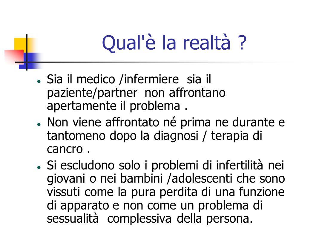 Qual'è la realtà ? Sia il medico /infermiere sia il paziente/partner non affrontano apertamente il problema. Non viene affrontato né prima ne durante