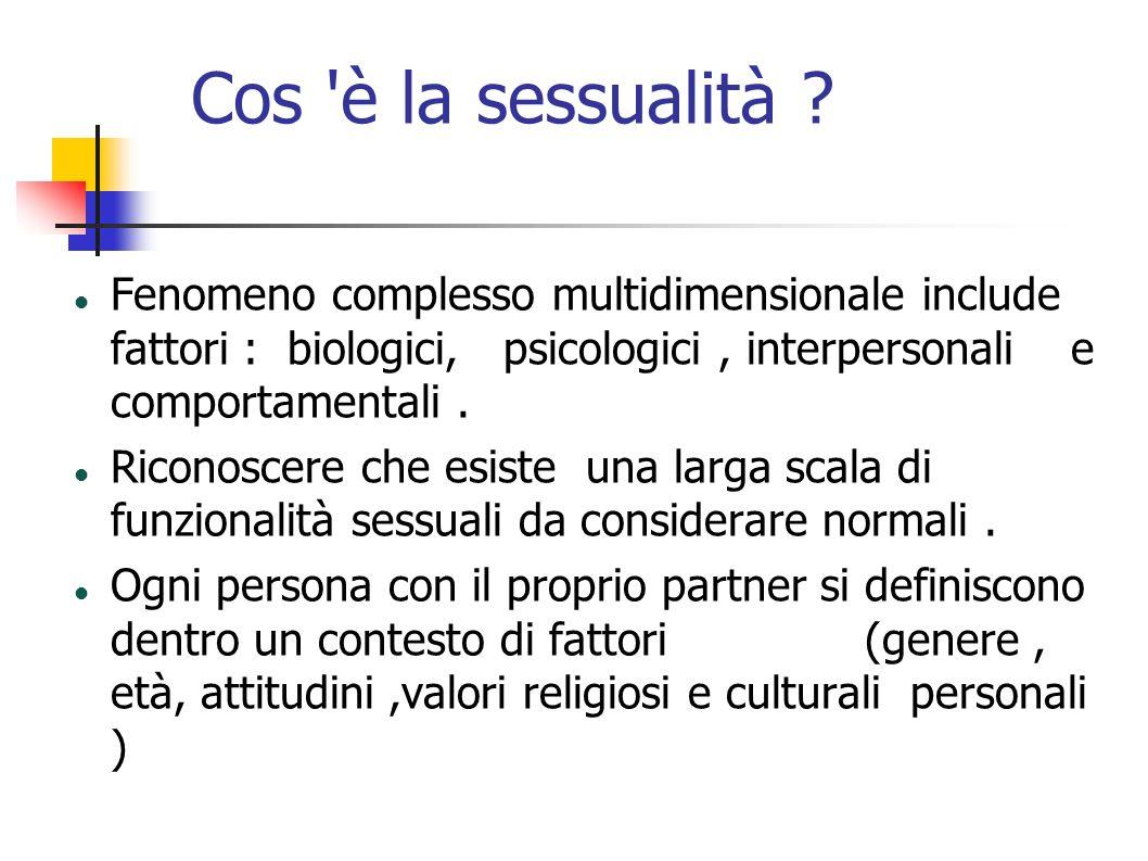 Cos 'è la sessualità ? Fenomeno complesso multidimensionale include fattori : biologici, psicologici, interpersonali e comportamentali. Riconoscere ch