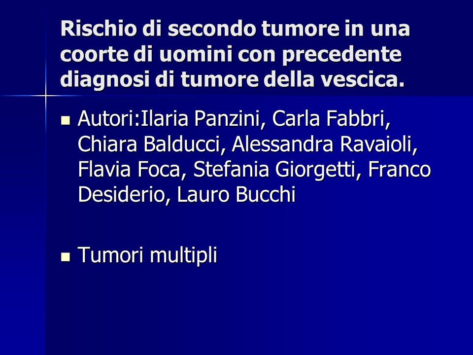 Rischio di secondo tumore in una coorte di uomini con precedente diagnosi di tumore della vescica. Autori:Ilaria Panzini, Carla Fabbri, Chiara Balducc