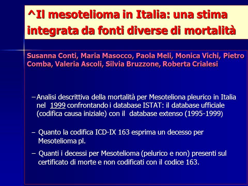 ^Il mesotelioma in Italia: una stima integrata da fonti diverse di mortalità Susanna Conti, Maria Masocco, Paola Meli, Monica Vichi, Pietro Comba, Val