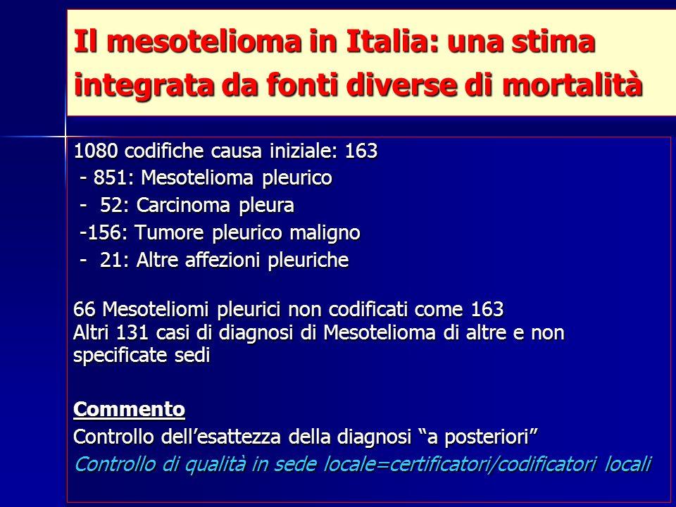 1080 codifiche causa iniziale: 163 - 851: Mesotelioma pleurico - 851: Mesotelioma pleurico - 52: Carcinoma pleura - 52: Carcinoma pleura -156: Tumore