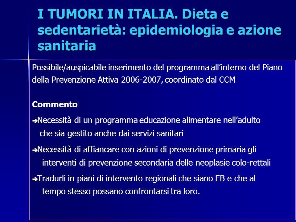 I TUMORI IN ITALIA. Dieta e sedentarietà: epidemiologia e azione sanitaria Possibile/auspicabile inserimento del programma allinterno del Piano della