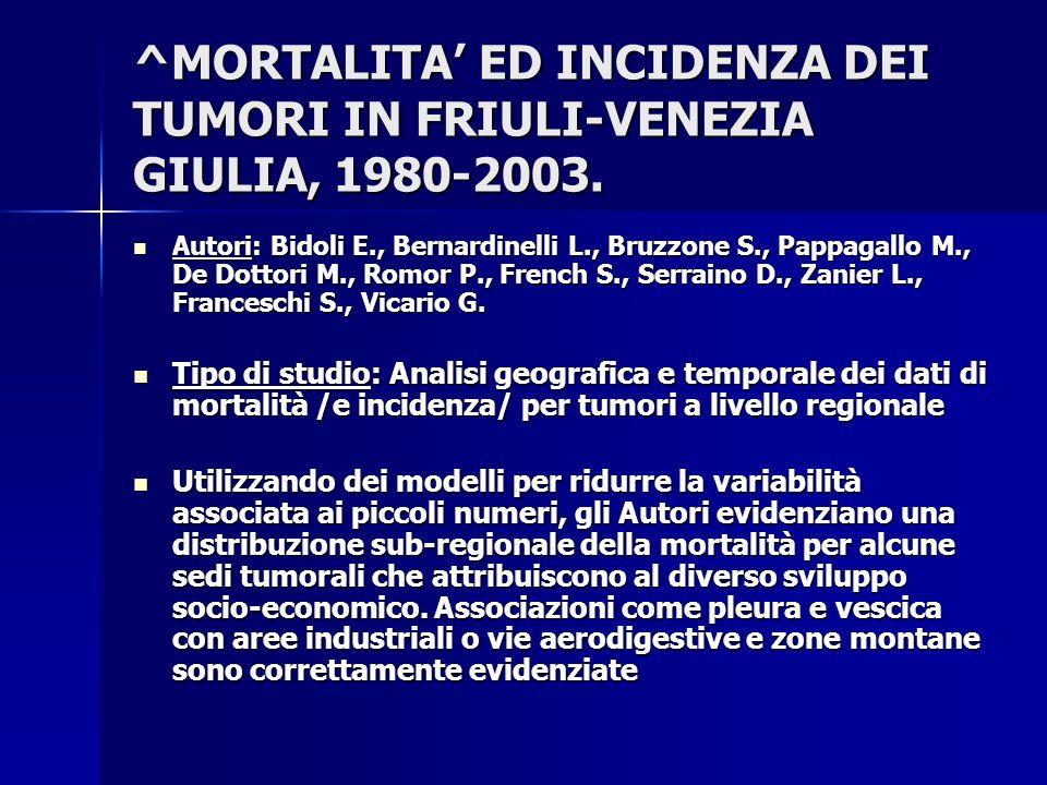^MORTALITA ED INCIDENZA DEI TUMORI IN FRIULI-VENEZIA GIULIA, 1980-2003. Autori: Bidoli E., Bernardinelli L., Bruzzone S., Pappagallo M., De Dottori M.