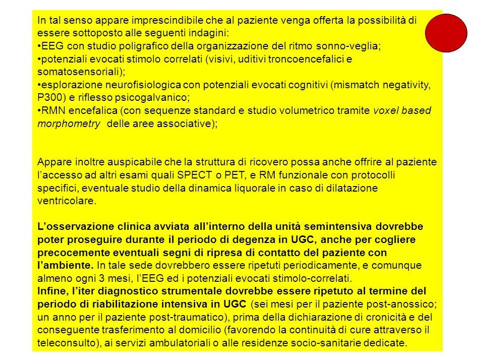 In tal senso appare imprescindibile che al paziente venga offerta la possibilità di essere sottoposto alle seguenti indagini: EEG con studio poligrafi