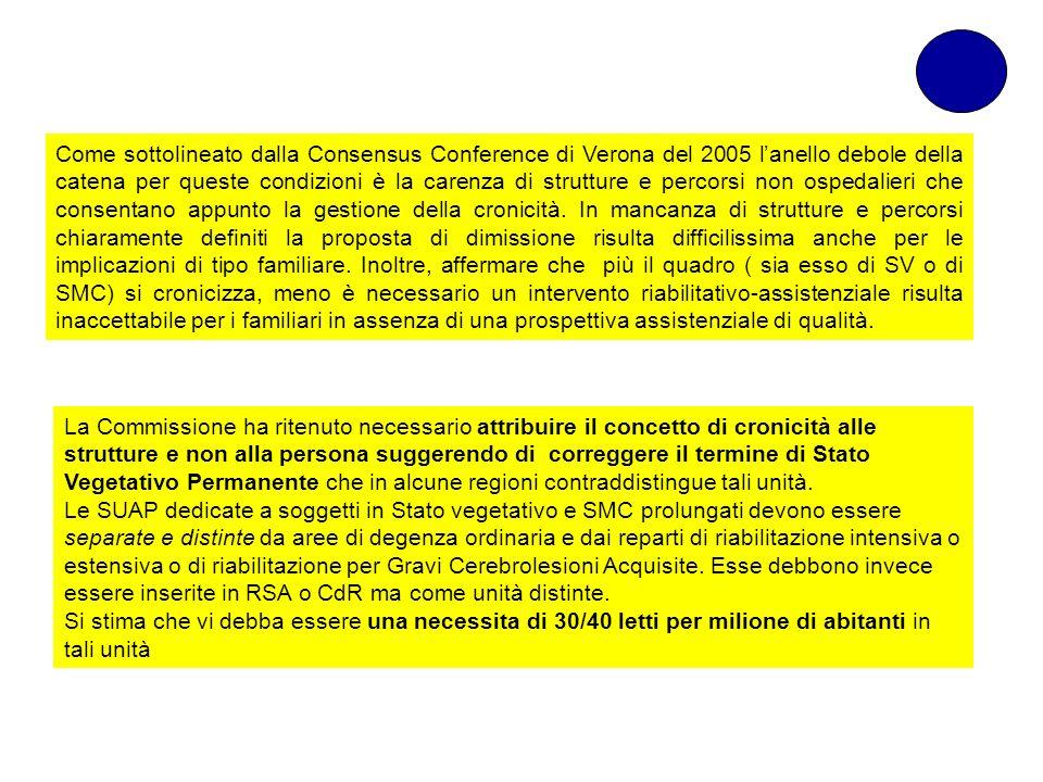 Come sottolineato dalla Consensus Conference di Verona del 2005 lanello debole della catena per queste condizioni è la carenza di strutture e percorsi