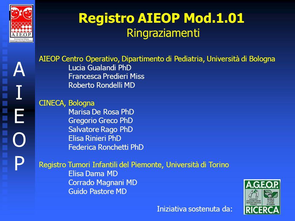 Registro AIEOP Mod.1.01 Ringraziamenti AIEOPAIEOP AIEOP Centro Operativo, Dipartimento di Pediatria, Università di Bologna Lucia Gualandi PhD Francesc