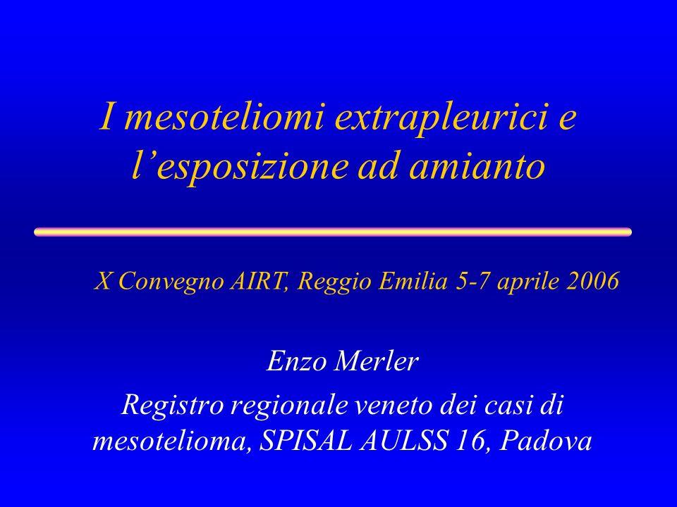 I mesoteliomi extrapleurici e lesposizione ad amianto Enzo Merler Registro regionale veneto dei casi di mesotelioma, SPISAL AULSS 16, Padova X Convegn