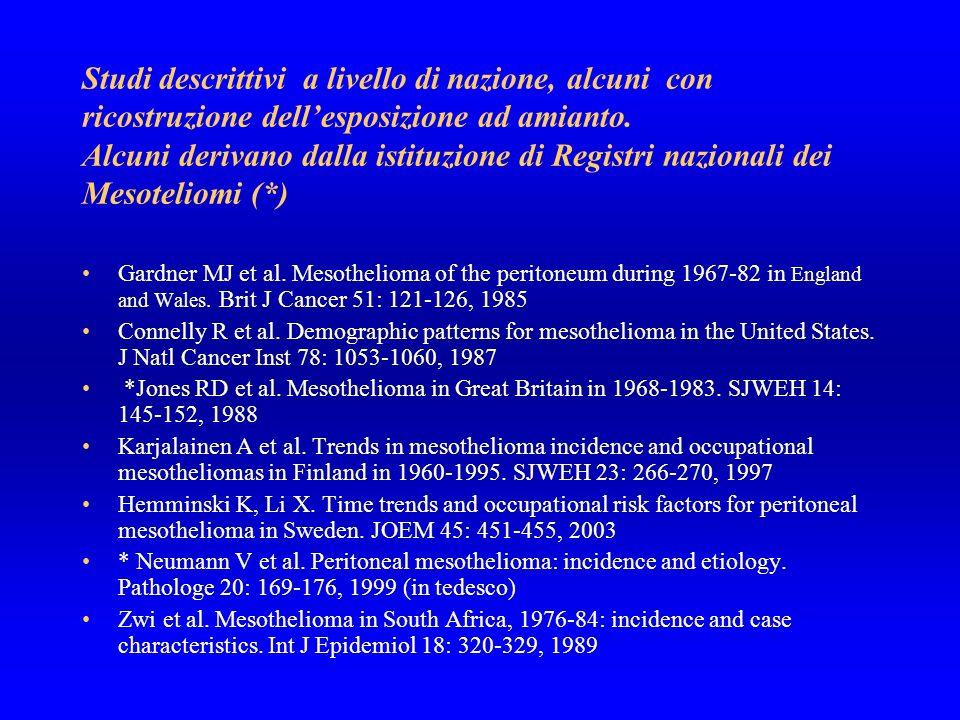 Studi caso-controllo sui mesoteliomi peritoneali Spirtas R et al.