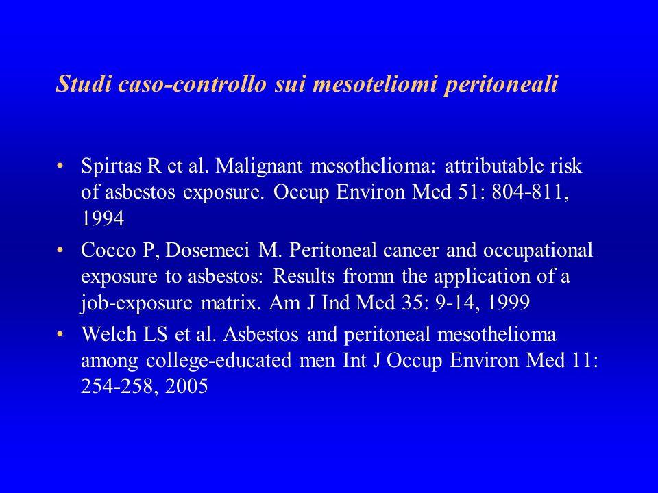 Studi caso-controllo sui mesoteliomi peritoneali Spirtas R et al. Malignant mesothelioma: attributable risk of asbestos exposure. Occup Environ Med 51