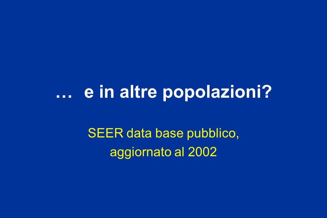 … e in altre popolazioni? SEER data base pubblico, aggiornato al 2002