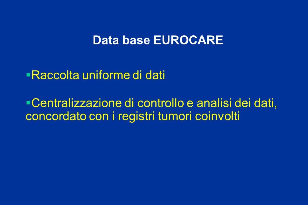 Data base EUROCARE Raccolta uniforme di dati Centralizzazione di controllo e analisi dei dati, concordato con i registri tumori coinvolti