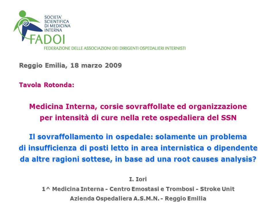 Reggio Emilia, 18 marzo 2009 Medicina Interna, corsie sovraffollate ed organizzazione per intensità di cure nella rete ospedaliera del SSN I. Iori 1^