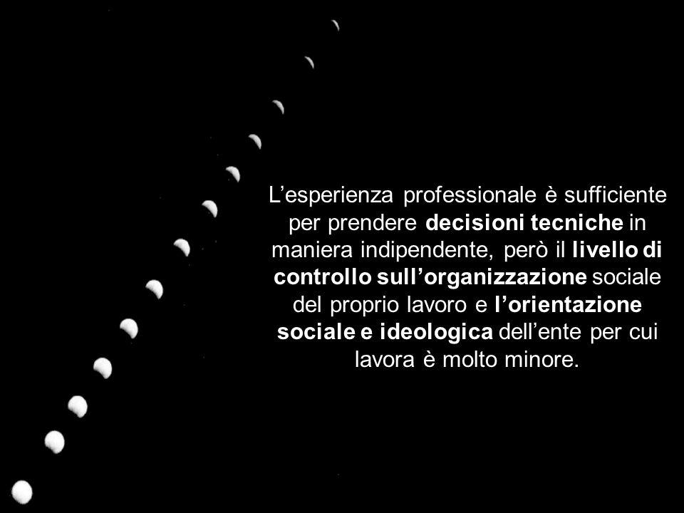 Lesperienza professionale è sufficiente per prendere decisioni tecniche in maniera indipendente, però il livello di controllo sullorganizzazione sociale del proprio lavoro e lorientazione sociale e ideologica dellente per cui lavora è molto minore.